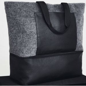 Gray Felt & Faux Leather Large Zippered Tote NEW